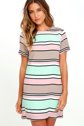 Lucy Love Palm Spring Light Pink and Mint Striped Shift Dress at Lulus.com!