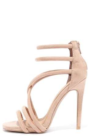 Caught My Eye Taupe Suede Caged Heels at Lulus.com!