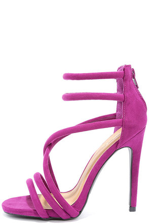 Caught My Eye Violet Suede Caged Heels at Lulus.com!