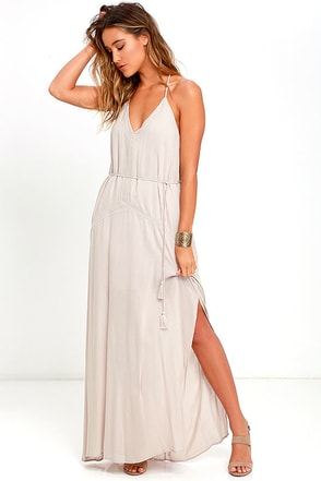 Crush and Croon Light Taupe Embroidered Maxi Dress at Lulus.com!