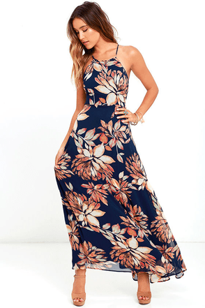 Adventure Seeker Navy Blue Floral Print Maxi Dress at Lulus.com!