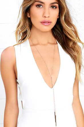 Secret Code Rose Gold Drop Necklace at Lulus.com!