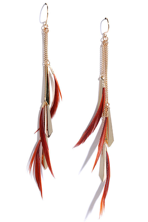 Firework Finale Gold and Brown Feather Earrings at Lulus.com!