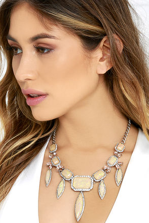 Full of Life Iridescent and Silver Rhinestone Statement Necklace at Lulus.com!