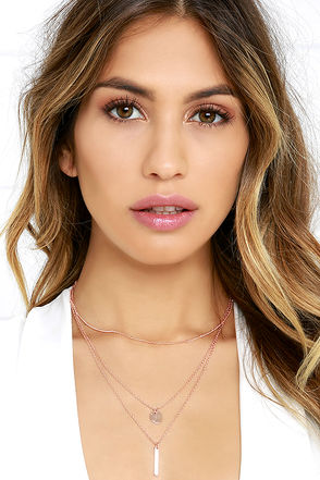 Perfect Trio Rose Gold Layered Necklace at Lulus.com!