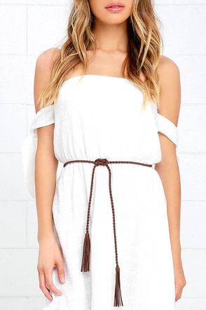 Thalassa Brown Braided Wrap Belt at Lulus.com!