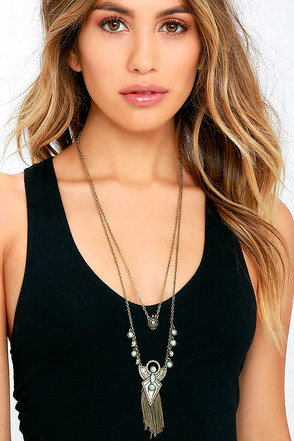 Lucky Sun Gold and Turquoise Layered Necklace at Lulus.com!