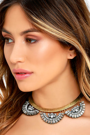 Love Yourself Gold Rhinestone Collar Necklace at Lulus.com!