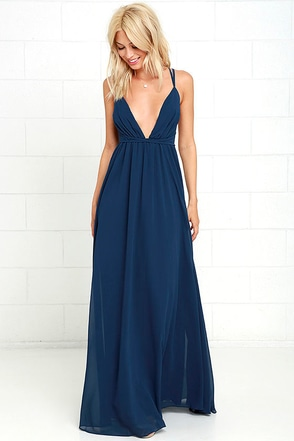 Flutter Freely Navy Blue Maxi Dress at Lulus.com!