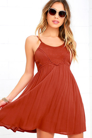Remain True Rust Orange Embroidered Dress at Lulus.com!