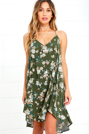O'Neill Crimson Olive Green Floral Print High-Low Dress at Lulus.com!