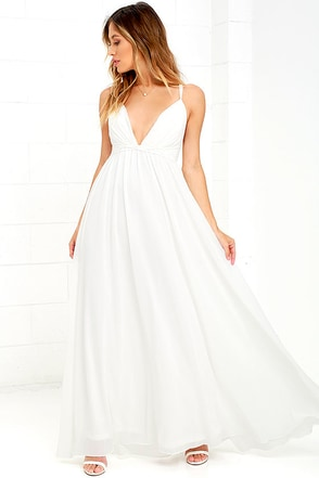 Flutter Freely White Maxi Dress at Lulus.com!