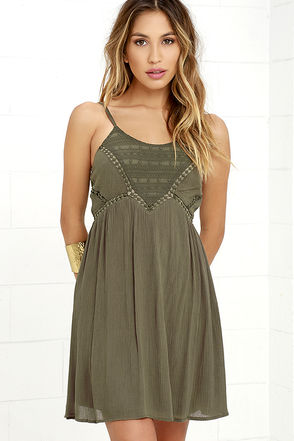 Remain True Olive Green Embroidered Dress at Lulus.com!