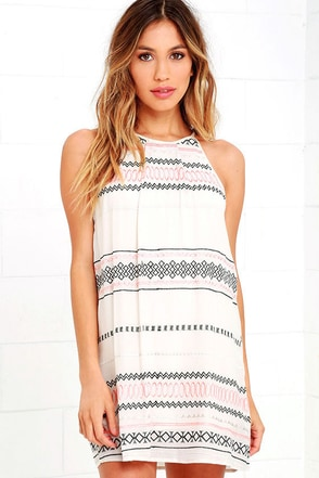L.A. Woman Beige Embroidered Halter Dress at Lulus.com!
