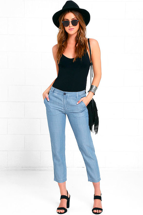 RVCA Lowlanded Blue Chambray Pants at Lulus.com!