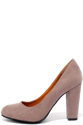 Timely Manner Taupe Suede Pumps at Lulus.com!