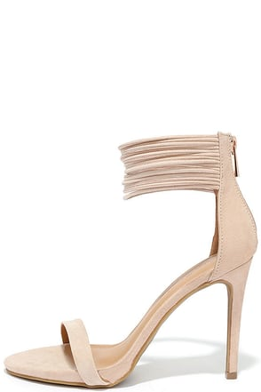 Bold Beauty Nude Suede Ankle Strap Heels at Lulus.com!