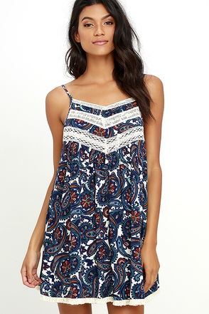 Crown Print-cess Navy Blue Paisley Print Swing Dress at Lulus.com!