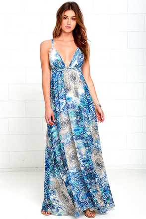Happy Hues Blue Print Maxi Dress at Lulus.com!