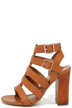 Great Adventure Tan Caged Heels at Lulus.com!