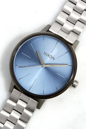 Nixon Kensington Silver and Light Gold Crystal Watch at Lulus.com!