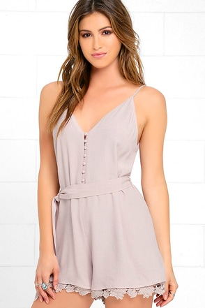 Adventure of a Lifetime Taupe Lace Romper at Lulus.com!