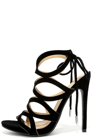 Rock and Roll With It Black Suede Caged Heels at Lulus.com!