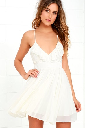 Pixie Palace Ivory Skater Dress at Lulus.com!