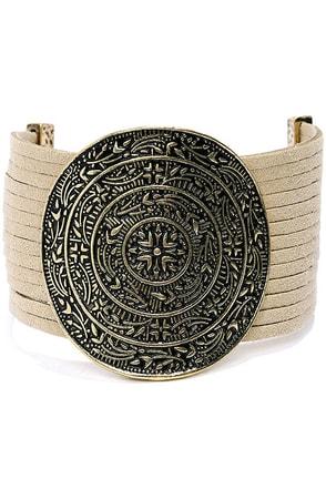 Mystical Carnival Gold and Beige Bracelet at Lulus.com!