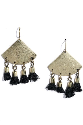 Take a Bow Black and Gold Tassel Earrings at Lulus.com!