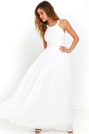 Piece of Heaven Ivory Lace Maxi Dress at Lulus.com!