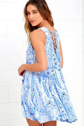 Spellbound Skies Blue Print Lace-Up Dress at Lulus.com!