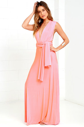 Always Stunning Convertible Coral Pink Maxi Dress at Lulus.com!