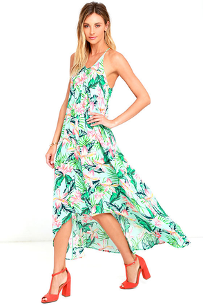 Mink Pink Sunshine Coast Light Blue Floral Print High-Low Dress at Lulus.com!