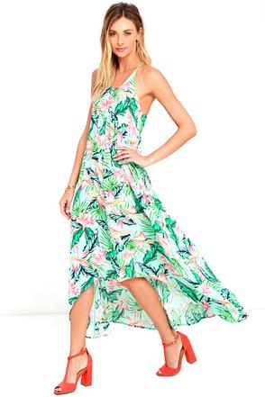 Mink Pink Sunshine Coast Light Blue Floral Print High-Low Dress at Lulus.com!