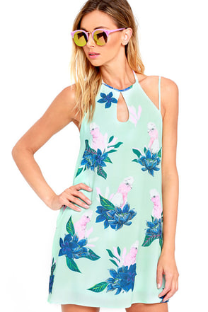 Mink Pink What a Galah Mint Green Print Swing Dress at Lulus.com!