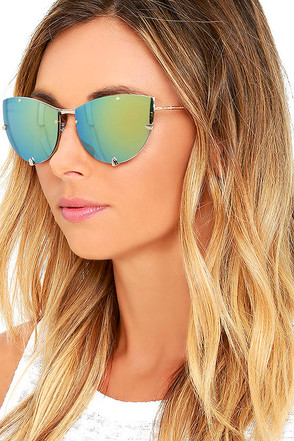 Spitfire Shark Tooth Gold and Green Mirrored Sunglasses at Lulus.com!