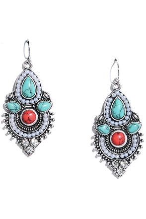 Kashmir Valley Silver and Turquoise Earrings at Lulus.com!
