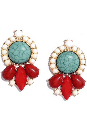 Dreamweaver Red and Turquoise Earrings at Lulus.com!