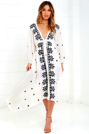 Raga Juliet Cream Embroidered Midi Dress at Lulus.com!