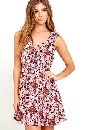 Artisan Inspiration Light Pink Print Dress at Lulus.com!