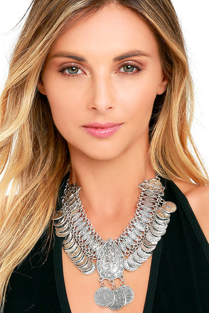 Wandering Siren Silver Statement Necklace at Lulus.com!