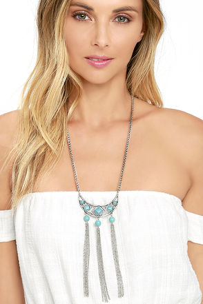 Immortalized Turquoise and Silver Necklace at Lulus.com!