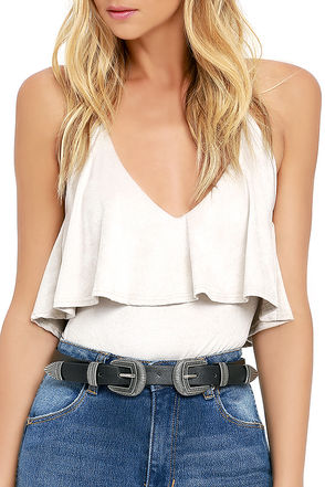 Vibrant Horizon Silver and Tan Double Buckle Belt at Lulus.com!