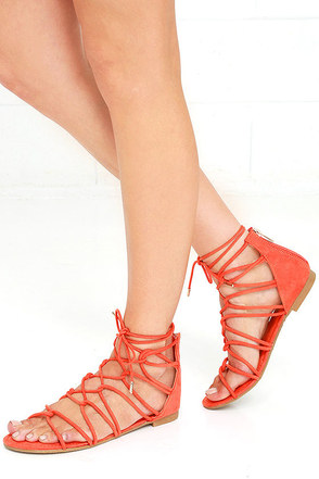 Untamed Heart Orange Suede Lace-Up Gladiator Sandals at Lulus.com!
