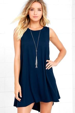 BB Dakota Kenmore Navy Blue Swing Dress at Lulus.com!