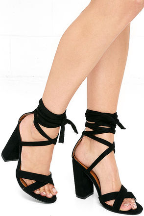 Hop, Skip, and a Leap Navy Blue Suede Lace-Up Heels at Lulus.com!