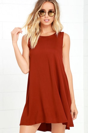 BB Dakota Kenmore Rust Red Swing Dress at Lulus.com!