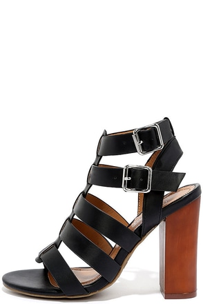 Great Adventure Black Caged Heels at Lulus.com!