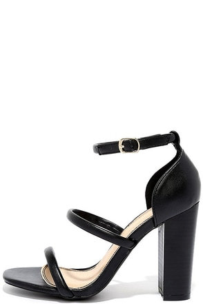 Charmaine Black High Heel Sandals at Lulus.com!